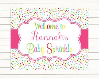 Baby Shower Welcome Sign, Pink Baby Sprinkle Welcome Sign Printable, Pink Digital Print PDF