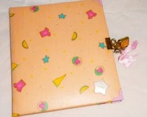 DOLLY 80s italy - vintage kawaii secret diary organizer white pages with lock and key mint - pink
