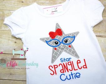 Star Spangled Cutie Shirt, Glasses Shirt, Fourth of July Shirt, 4th of July Shirt, Girl Patriotic Shirt, Custom Applique Shirt