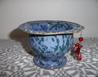 Lavender and Green Earring Bowl Handmade with Stoneware Clay