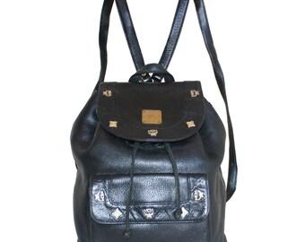MCM Vintage Black Pebbled Leather Backpack
