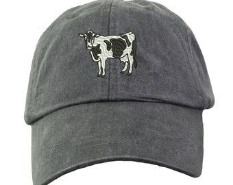 Holstein Cow Hat - Embroidered. Embroidered Holstein Cow Farm Hat. Adjustable Leather Strap. More Colors Avail. HER-LP101