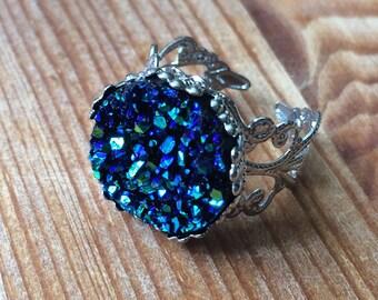 16mm Moonlit Ocean Faux Druzy Ornate Ring