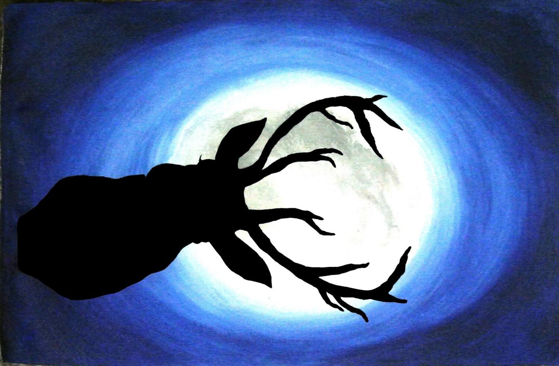 reindeer christmas acrylic painting black shadow paintings On shadow paint it black