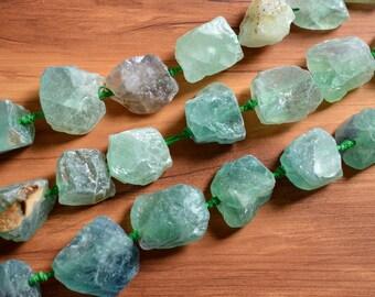 Natural Green Fluorite Nugget Beads Center Drilled Raw Rough Fluorite Stone Beads Organic Shape 0029