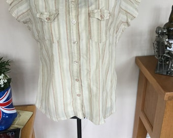 Evie cheesecloth short sleeved blouse.