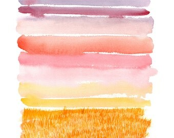 """watercolor landscape giclee print. 11""""X14"""" """"Harvest Sunset"""" Abstract modern landscape."""
