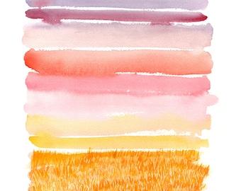 "watercolor landscape giclee print. ""Harvest Sunset"" Abstract modern landscape."