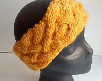 Merino wool headband for winter - GOLDEN - Women's warm and soft earwarmer - Authentic hand dyed merino wool headband