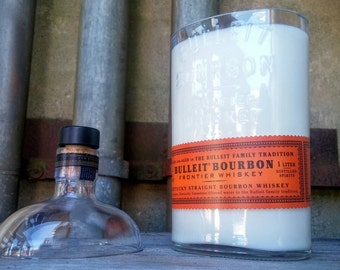 Manly Bulleit Bourbon Whiskey Recycled Scented Bottle Decor Gift Candle