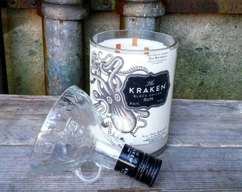 Large Scented Candle, Recycled Kraken 1.75 Liter Glass Liquor Bottle, Perfect Octopus, Nautical, Beach or Ocean Decor