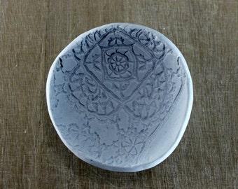 Ceramic jewelry holder, ring dish holder, blue ring bowl, lace bowl, blue wedding bowl, blue wedding dish, ceramic something blue, lace dish