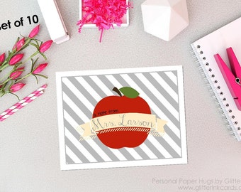 Apple Note Cards - Apple Stationery - Teacher Note Cards - Teacher Stationery - Blank Note Cards