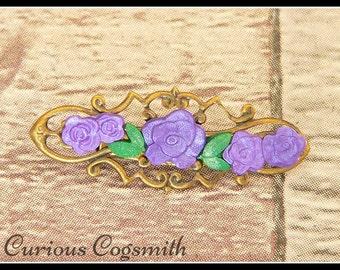 Flower Brooch - Purple Flower Brooch - Flower Pin - Victorian Brooch - Victorian Pin - Floral Brooch - Floral Pin
