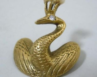 Estate Art Nouveau Era 14kt Gold Diamond Pearl Swan Brooch
