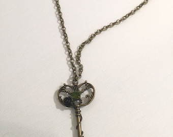 Heart key necklece , key necklece , gold key necklace, key chain, key chocker