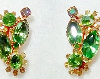 Beau Jewels marked Peridot Rhinestone Clip On Earrings