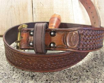 "1.75"" Wide, Hand Tooled, Basketweave Leather Belt"