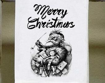 Vintage Christmas Kitchen Towel, Christmas decor, Hostess gift, Santa, Merry Christmas, black and white