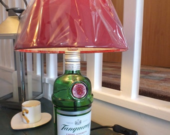 Tanqueray Bottle (upcycled) Table Lamp  with  Lamp Shade - 3amp UK Electrical Plug with on/off switch.