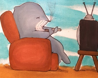 Couch Potato - Original Oil Painting on Canvas Panel