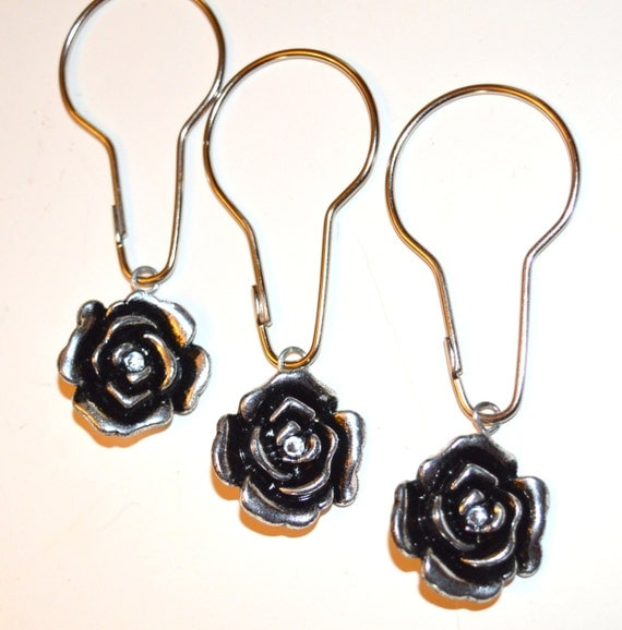 Items similar to Shabby Rose Shower Curtain Hooks, Antique ...