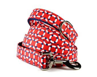Red Lifesaver Dog Leash, Nautical Dog Leash, Red Dog Lead, Preppy Dog Leash, Nautical Dog Leash, Preppy Dog Leash