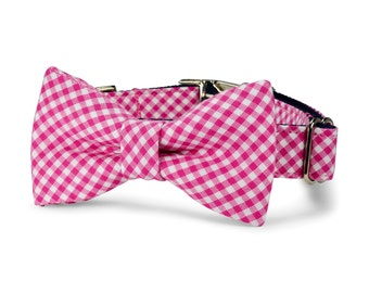 Pink Gingham Dog Bow Tie Collar, Preppy Dog Collar, Dog Collar Bow Tie, Pink Bow Tie For Dog, Gingham Dog Bow Tie, Gingham Collar