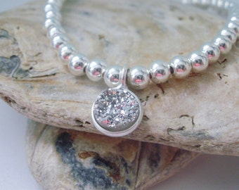 Silver Charm Bracelet, Stretch Silver Bracelet, Sterling Silver Bead Bracelet, Sparkling Bracelets, Stacking Druzy Charm Bracelets, Handmade