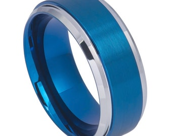 9mm blue tungsten ring engraved wedding date ring roman numeral ring coordinates ring