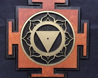 "Kali Yantra 11"" - Red and Gold with Black Base - Radiant Hearts Item #020001"