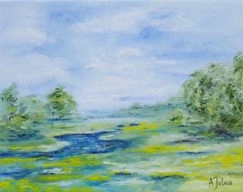 "Lake art Original landscape oil painting Landscape art landscape painting Lake painting Countryside art Landscape original artwork 11x14"""