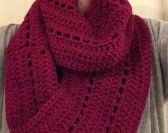 Infinity Scarf, Homemade, Crochet Scarf, Gorgeous Fuschia Cranberry Homemade Hand-Crocheted Infinity Scarf; Winter Accessory