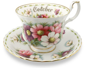 Royal Albert - Flower of the month - Tea cup & saucer - October - Cosmos