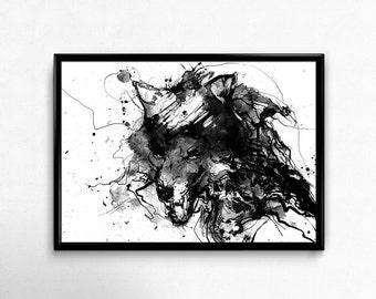 Black Wolf, Black and White Art, Ink Drawing, Black and White Painting, Ink Splatter, Wolf Art, Fine Art Print, Wolf Print, Wild Animal