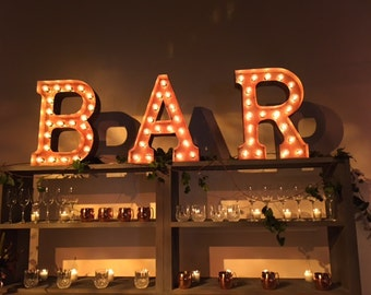 BAR sign >> Light up letters, Custom sign, Restaurants, Businesses, Event Decor, Home
