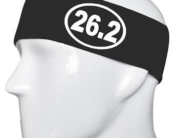26.2 Marathon Run Black/White Headband