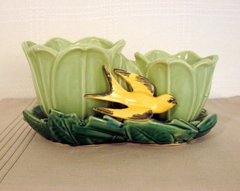 McCoy > Double Light Green Flowerpot with Yellow Birds Planter on Dark Green Tray