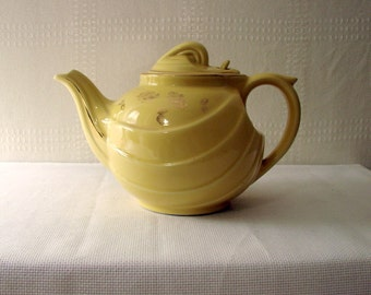 Hall Teapot > Yellow Swirl Design > Gold Leaves and Acorns