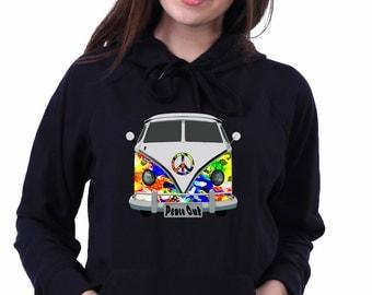 Volkswagen Hippie Campervan Bus Surfer 70's Woodstock Sweatshirt Hoodie Jumper