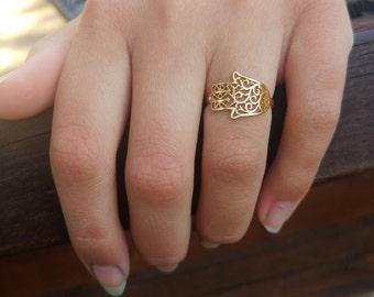 hamsa ring, Gold hamsa ring (small surface), Goldfilled hamsa ring, hand ring, hand of god ring, filigree hamsa ring, unique hamsa ring