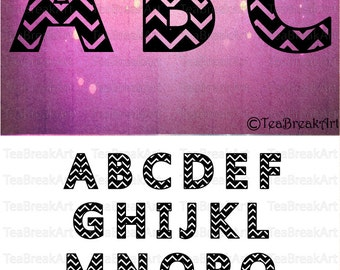 Chevron Alphabet Monogram Letters A to Z SVG EPS PNG Digital Cutting Files Graphic printable iron on heat transfer decal 535C