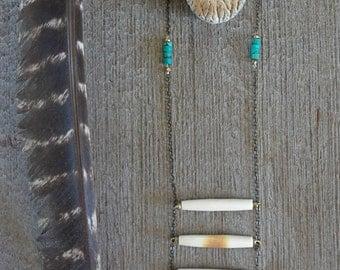 Wild Child∆Bone.Turquoise.Amber Necklace