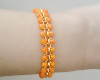Summer Outdoors Orange Beaded Bracelet Beaded Jewelry Orange Bracelet Gold Chain Bracelet Orange Wedding Bold Jewelry Adjustable Bracelet