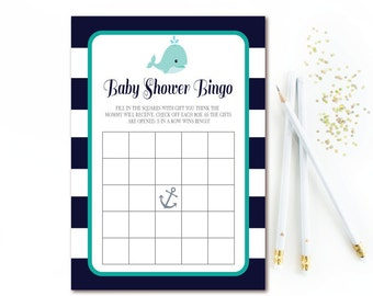 Nautical Baby Bingo, Navy White Stripe Baby Boy Shower Games, Navy & Teal Bingo Printables, Anchor and Whale Registry Game, INSTANT DOWNLOAD