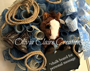 Mesh Wreath, Custom. Western Theme for Baby Shower or Cowboy Room Decor in Denim and Burlap Curly Deco Mesh with Plush Pony and Booties.