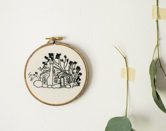 House Portrait, Gift for Mom, Custom Embroidery Hoop Art, Personalized Housewarming Gift, First Home Drawing, Cotton Anniversary for Couple
