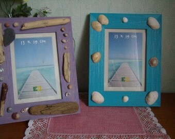 2 photo frames, customised Beach and sea, wooden frames