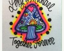 Mushroom Couples Airbrush Tee Shirt Long Sleeve Or Hoodie