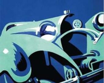 Bugatti Car Art Deco Advertising Poster by Gerold Hunziker, 1932